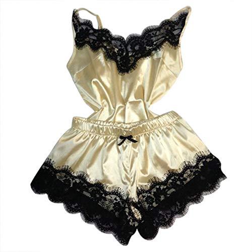 JFCDB Zomer pyjama,Dames nachtkleding Sexy satijnen set Zwarte kanten pyjama met V-hals Mouwloze schattige camitop en korte broek, H, L