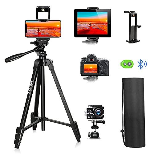 FUDESY 140 cm leichtes Kamera-Handy-Stativ, für Reisen/Video/DSLR/Canon Nikon, mit Smartphone/Tablet/Sport-Kamera-Halterung, Fernauslöser & Tragetasche, max. 2,5 kg Traglast