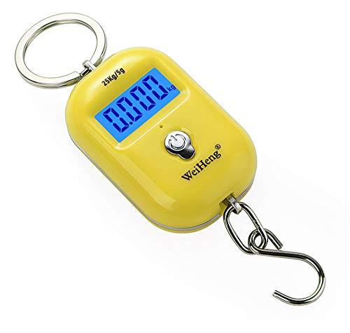 25kg x 10g Balanza colgante portátil Mini balanza digital para equipaje de pesca Llavero de peso de viaje Balanza electrónica con gancho-Amarillo Y