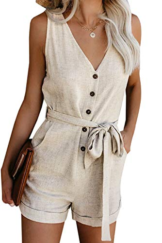 SHIPE Women Button Down Sleeveless Rompers V Neck Short Jumpsuit Rompers Playsuit with Pockets (Beige M)