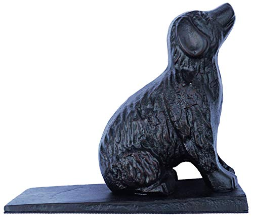 Lulu Decor, Cast Iron Dog Door Stopper, Doorstops Weight 5 Lbs (Black)