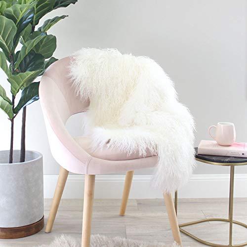 Genuine Tibetan/Mongolian Lamb Sheepskin Fur Rug, Curly Fur Pelt Throw Fur Area Rug Carpet Chair Cover in Bedroom/Living Room, 39.5-41.5 in Long and 23.6 -25.6 in Wide, Ivory White