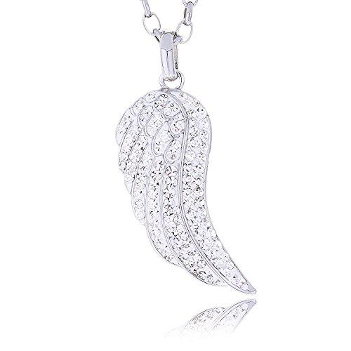 Morella Damen Halskette Engelsflügel mit Zirkoniasteinen weiß und Samtbeutel