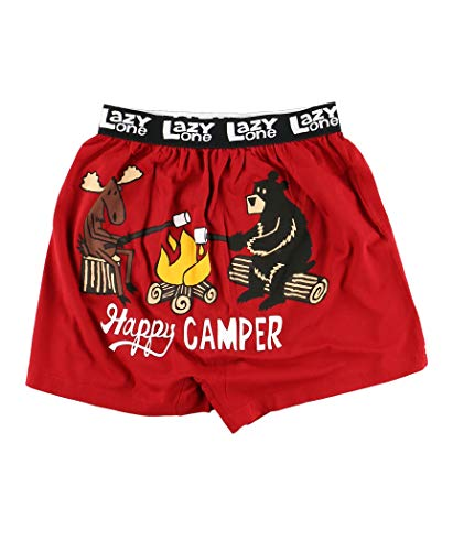 Lazy One Funny Animal Boxers, Novelty Boxer Shorts, Humorous Underwear, Gag Gifts for Men, Camping, Bear, Moose (Happy Camper, Large)