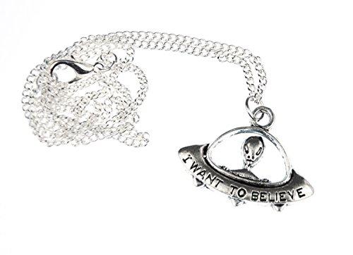Miniblings UFO Kette Halskette 45cm Alien Außerirdischer Weltall Sci-Fi Silber
