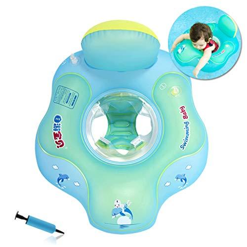 HONGCI Baby Schwimmring Baby Float Schwimmreifen mit Pumpe, Baby Schwimmen Ring Baby Schwimmhilfe Kinder Schwimmring Aufblasbarer Einstellbare Life Boje Schwimmtrainer für Baby (2-6 Jahre,L)