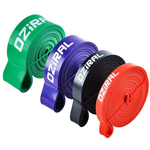 Oziral Elastici Fitness, 4 Pezzi Banda Elastica Fasce Elastiche di Resistenza di Lattice Naturale, Elastico Palestra per Crossfit Forte Ginnastica Danza Forza Recupero Mobilità Allena