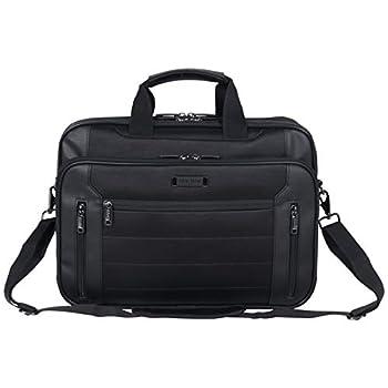 Kenneth Cole Reaction Keystone 1680d Polyester Dual Compartment 17  Laptop Business Portfolio Black