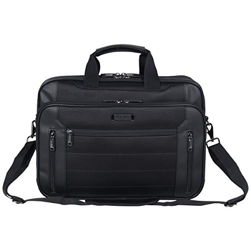Kenneth Cole Reaction Keystone 1680d Polyester Dual Compartment 17' Laptop Business Portfolio, Black