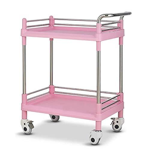 Zhao Li Medical Carts, Utility Cart Pink Rolling 2-Shelf, Handelsüblicher Speicherorganisator for den Medizin- / Schönheitssalon (Größe...