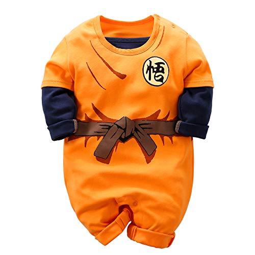 YFYBaby Goku Newborn Baby Boys Romper Infant Toddler 100% Organic Cotton One-Piece Jumpsuit, Orange1, 3-6