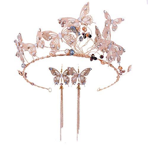 Qinlee - Set de diadema y pendientes con brillantes y mariposa para novia, perla, tiara, cumpleaños, tiara, diamantes de imitación, corona, tiara, boda, peine, bridal, cumpleaños, cinta para la frente, para mujer, oro