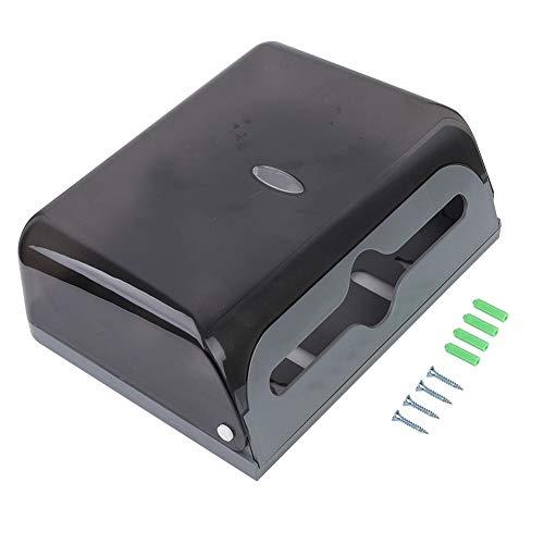 HERCHR Papierhandtuchspender Wandhalterung, Kunststoff Papierhandtuchhalter Bad Tissue Spender Weiß/Schwarz(Schwarz)