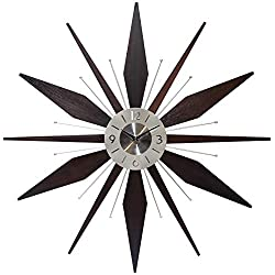 Mid century Mantle Clock Starburst Wall Clock Large 30 inch Midcentury Modern Wall Clock Unique Modern Design Sunburst Clock Mid Century Wall Decor for Living Room, Kitchen, Bedroom Walnut Wall Clock