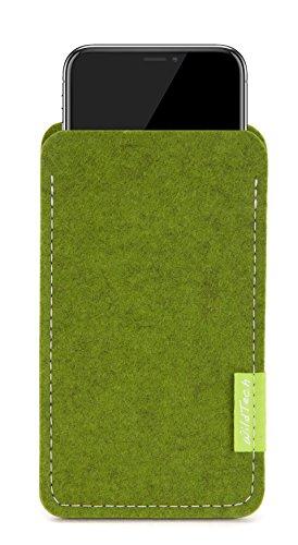 WildTech Sleeve für Apple iPhone XS/X Hülle Tasche aus echtem Wollfilz (Handmade in Germany) - Farn