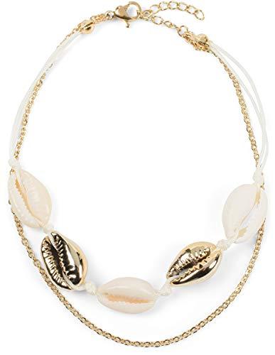 styleBREAKER Dames enkelband met schelpenhanger, schakelketting, kreeftsluiting, ketting, juwelen 05080010