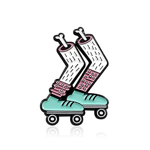 Brosche Zombie Skelett Bein Skates Live in Sunshine Regenbogen-Pferd Emaille Pin grün Rollschuhe rosa Web Badge Pins