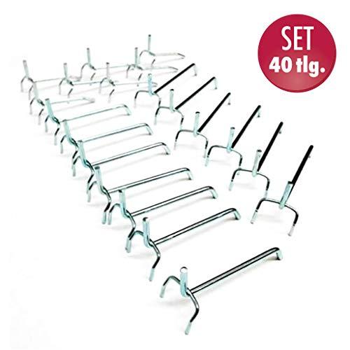40 Lochwandhaken, Metallhaken für Werkzeugwände mit Lochung 30 mm in unterschiedlicher Länge