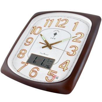 Wanduhr Modern neu Für jeden Raum genauer Kalender Temperatur Wohnzimmer starke Nachtleuchtende Uhr kreative Quarzuhr Silent Quarzuhr 64211 Kaffee Holz- Weiße Tastatur, Kaffee Holz- Weiße Tastatur