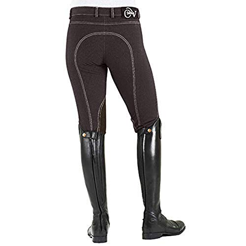 Ovation Damen Euro Melange Reißverschluss vorne Kniebesatz Baumwolle Reithose Braun 24 Regular