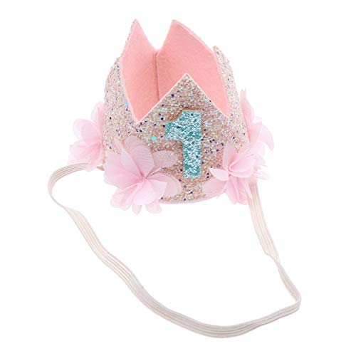 Beaupretty Baby Geburtstag Krone Stirnband, glänzende elastische Glitzer Tiara Blume ersten Geburtstag Hut Stirnband für Party Kostüm Foto