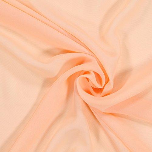 Fabulous Fabrics Chiffon Stoff lachs – Weicher Chiffon Stoff zum Nähen von Kleider, Blusen, Tücher, Rocke und zur Dekoration - Chiffon Dekostoff - Meterware ab 0,5m