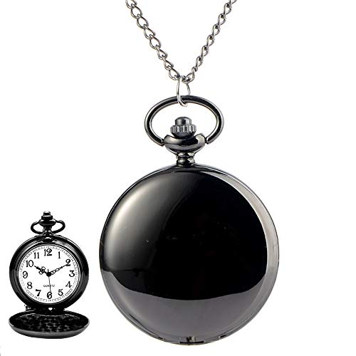 avaner Classic Suave Pulido Metal Caso Blanco Negro números árabes analógico Cuarzo Modern Reloj de Bolsillo Colgante Collar para Hombres Mujeres con Cadena