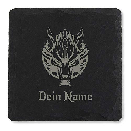 Kreativknoten Schiefer Getränkeuntersetzer personalisiert, mit Namensgravur - Motiv Wolf