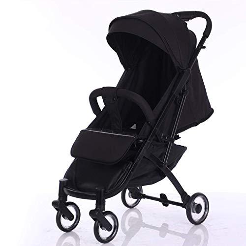BHDesign Kinderwagen Ultraleicht und in großer Höhe können Sie sitzen und zurücklehnen. Große, verbreiterte und erweiterte tragbare Kinderwagen, 3 Farben optional (Color : Black)