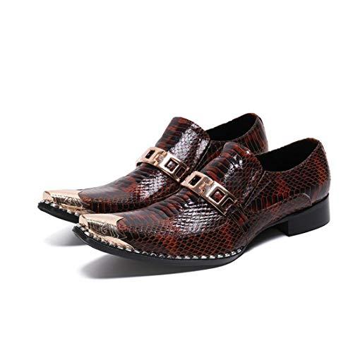 GIYL Mens Cowboy laarzen, kant lederen schoenen, stalen neus laarzen, casual lederen cowboylaarzen, voor nachtclub schoenen, 43