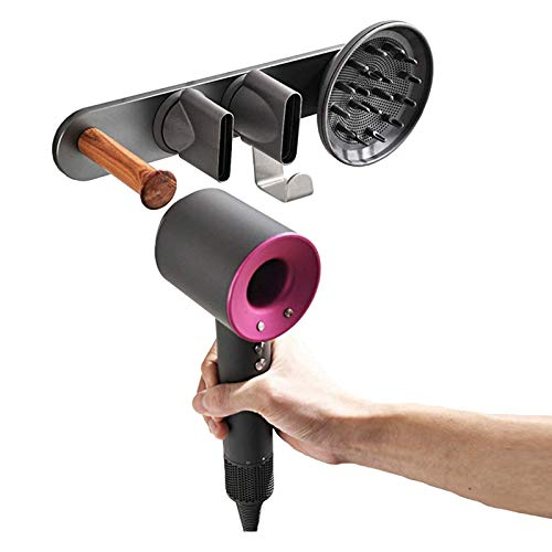Wall Mount Hair Dryer Holder for Dyson Supersonic, Support Drilling or No-Drilling Installation Method, Magnetic Bracket Stand Storage Rack Organizer for Dyson Supersonic Hair Dryer, Diffuser, Nozzle