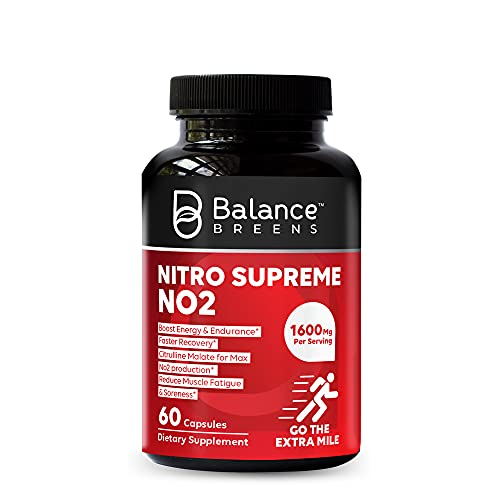 Nitro Supreme Nitric Oxide NO2 Booster 120 Capsules- High Strength Supplement L Arginine, Citrulline Malate - Powerful Workout Supplement for Muscle Building, Endurance, Vascularity, Energy