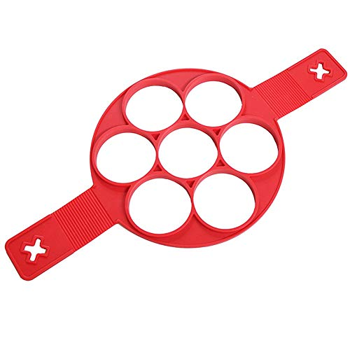 YUEKUN Nonstick Silikon Ei Ring Pfannkuchen Form 7 Löcher Kuchenform Silikon Formen Wiederverwendbare Rot Non Stick Eierformer, Pancake Backformen Maker, für Omelett, Muffins, Pfannkuchen