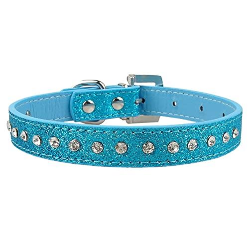 Collar de Gatito con Lazo de Cuero Ajustable para Cachorros y Gatos con Diamantes de imitación Brillantes para Perros pequeños y medianos, 077blue, XS