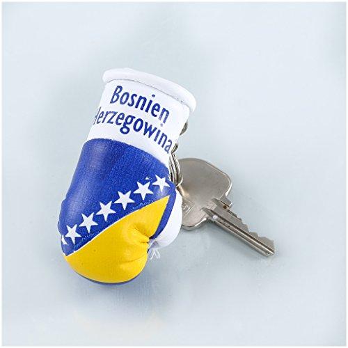 Sportfanshop24 Schlüsselanhänger/Anhänger für Schlüssel - BOSNIEN HERZEGOWINA - Boxhandschuh mit Schlüsselring, 7 cm groß
