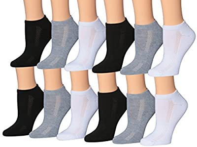 Tipi Toe Women's 12-Pairs Low Cut Athletic Sport Peformance Socks, (sock size 9-11) Fits shoe size 6-10, SP28-12