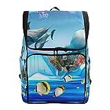 DEZIRO - Mochila de viaje para acuario con diseño de delfín y pingüino (19 x 14 x 7 pulgadas)