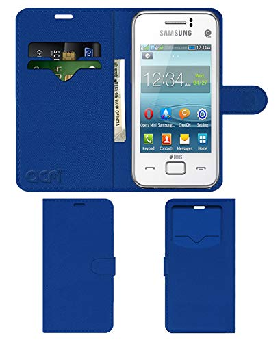 Acm Leather Window Flip Wallet Front & Back Case Compatible with Samsung Rex 80 S5222r S5222 Mobile Cover Blue