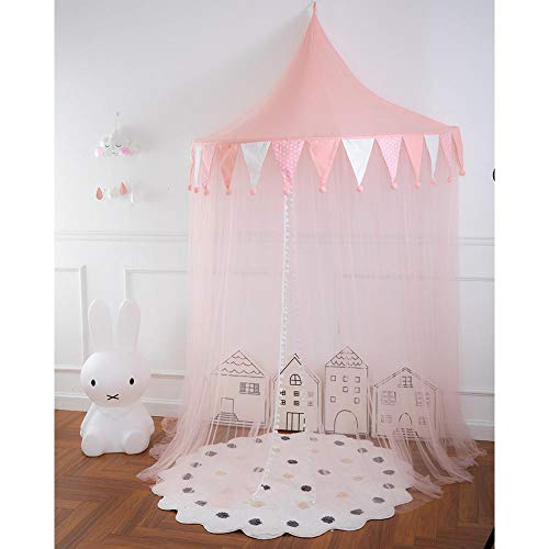 Luerme Kinderbetthimmel Round Dome Kinderbettzelt Leseecke Layout Half Moon Game House Betthimmel für Mädchen Jungen Kinderzimmer Dekorationen