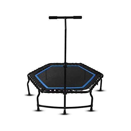 1yess Trampoline 50 Pouces Trampoline Silencieux avec poignée réglable Bar, Fitness Trampoline Bungee Trampoline Saut Cardio Entraîneur entraînement for Adultes Bleu