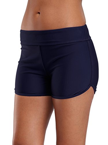ALove Women's Swim Board Shorts Swim Bottoms Solid Swimsuit Shorts Navy 6