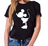Kiss Mouse King Queen Partnerlook Camiseta de los Pares Dulce para Parejas como Regalos, Größe2:L;Partner Shirts:Damen T-Shirt Schwarz