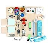 Montessori Busy-Boards - Spielbrett Mit Schlössern Und Riegeln   Montessori Lernbrett Aktivitätsboard Aus Holz   Multifunktional Pädagogisch Baby Feinmotorik Übungsspielzeug Für Kleinkinder