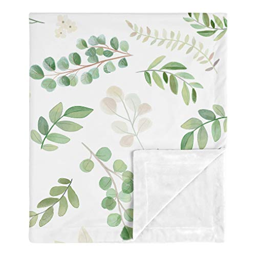 Sweet Jojo Designs Floral Leaf Baby Girl Receiving Security Swaddle Blanket for Newborn or Toddler Nursery Car Seat Stroller Soft Minky - Green White Boho Watercolor Botanical Woodland Tropical Garden