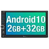 """Vanku Android 10 Autoradio 2 DIN GPS [2GB+32GB], Radio de Coche Soporte Bluetooth, Control Volante, WiFi, USB, SD, Mirror-Link, 4G, con 7"""" Pantalla táctil"""