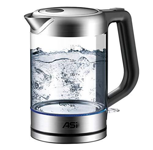 Gjfhome elektrische waterketel, huishouden glas waterkoker droogkookbescherming - 1,8 liter draadloze elektrische waterketel voor het bereiden van babyvoeding thee