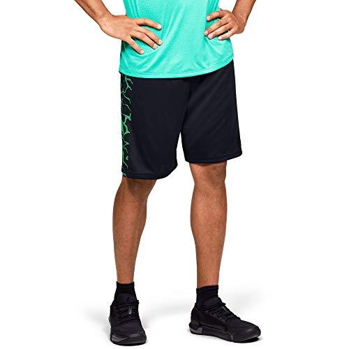 Under Armour Short de Sport pour Homme avec Logo Tech Bar XL Noir (002) / Vert Vapeur.