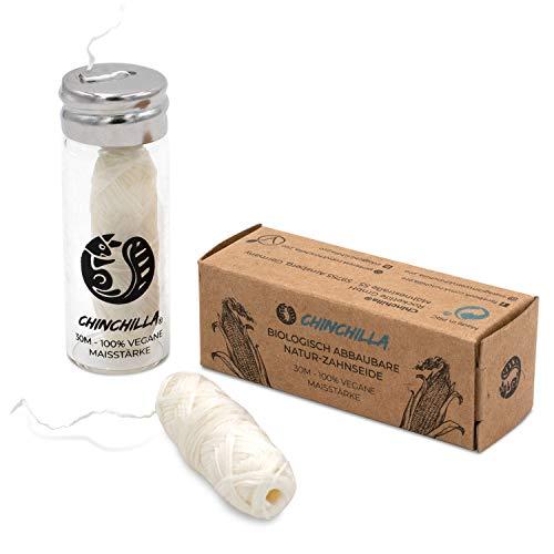 Chinchilla® Vegane Zahnseide aus Maisstärke | Plastikfreie, Nachhaltige & Umweltfreundliche Zahnpflege Alternative | 30m Nachfüllbare Naturzahnseide Minzgeschmack | kompostierbar & biologisch abbaubar