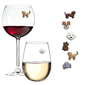 Cute dog charms for wine glass