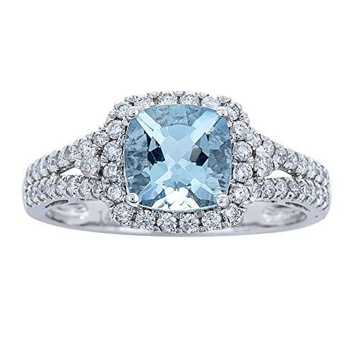 Gin & Grace 14K White Diamond Natural Oro (I1, I2) y genuino Aguamarina de Halo compromiso de la boda Proponen Promise Ring para la Mujer